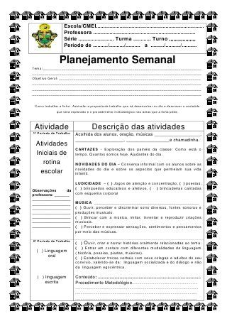 Ficha Para O Planejamento Diario Semed De Simone Helen Drumond