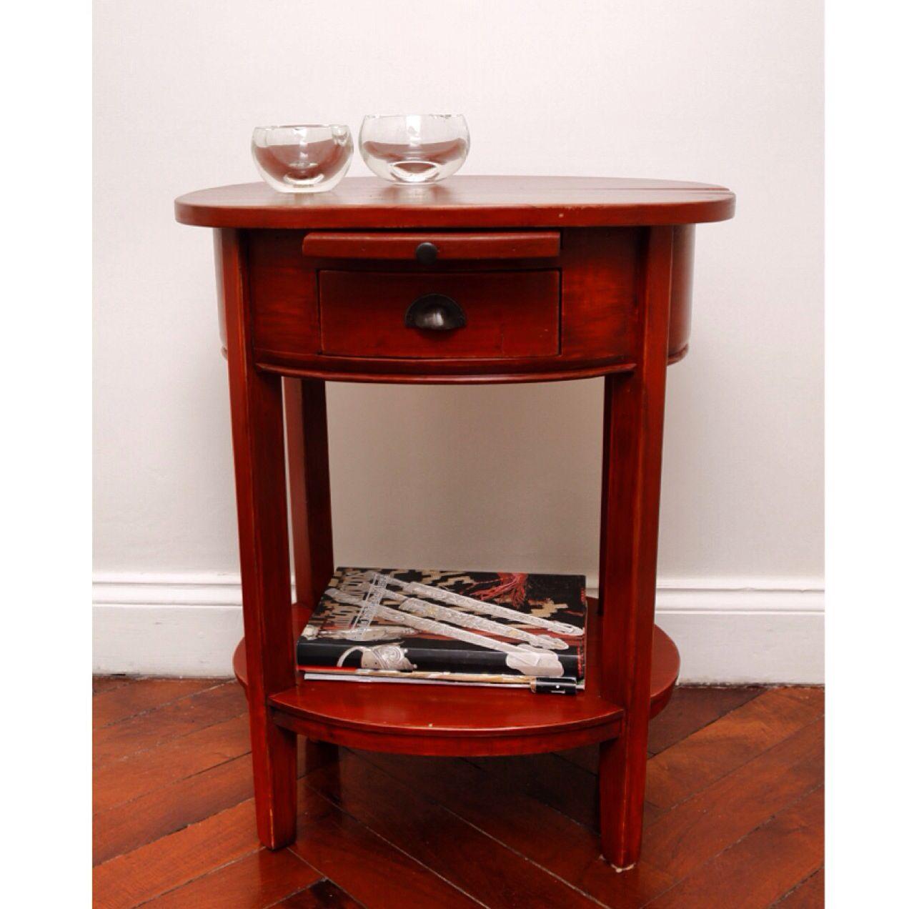 mesa de lado mesa de luz de madera patinada
