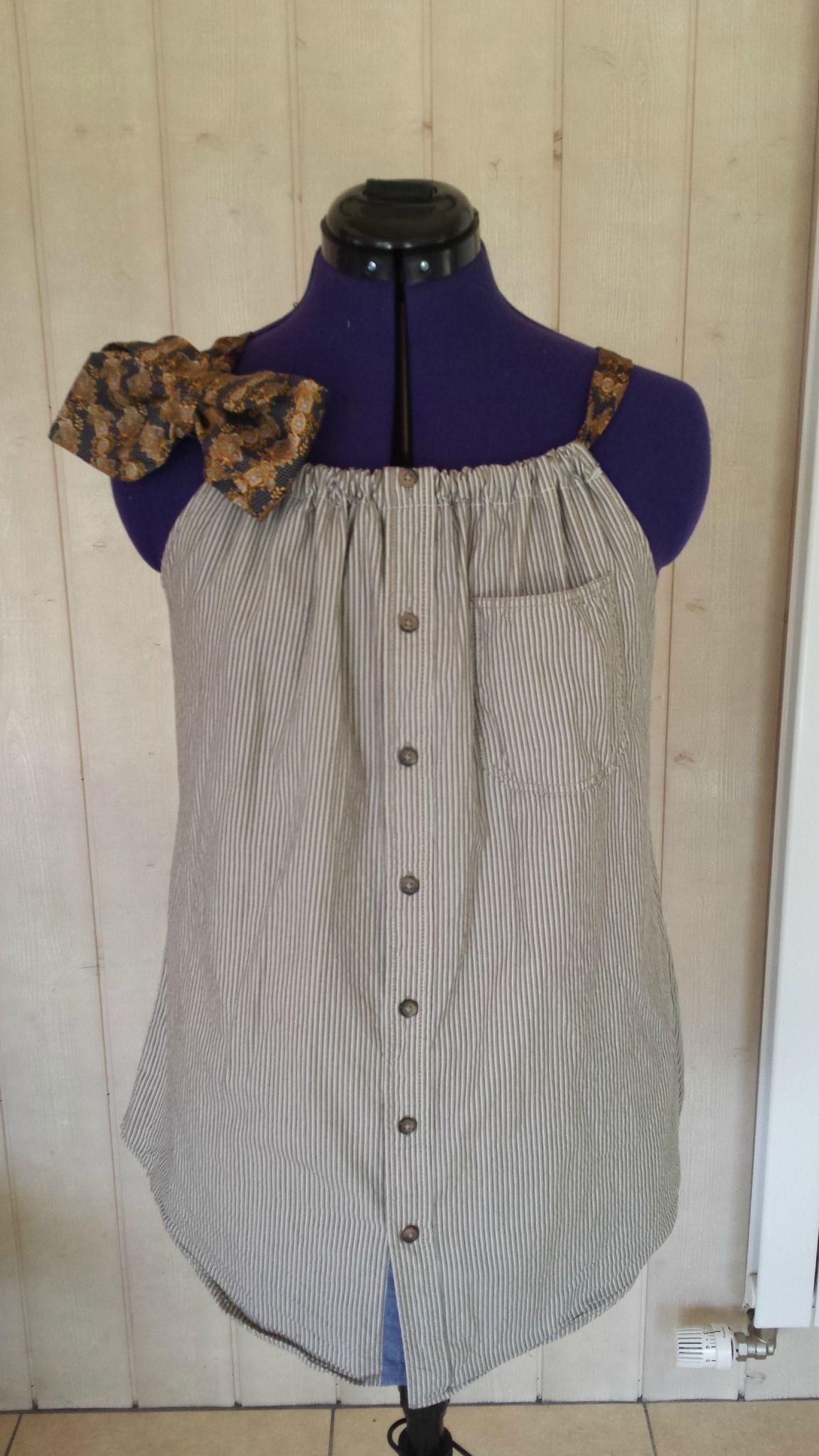 tunique chemise homme et cravate r cup chemise homme pinterest tuniques hommes et recyclage. Black Bedroom Furniture Sets. Home Design Ideas