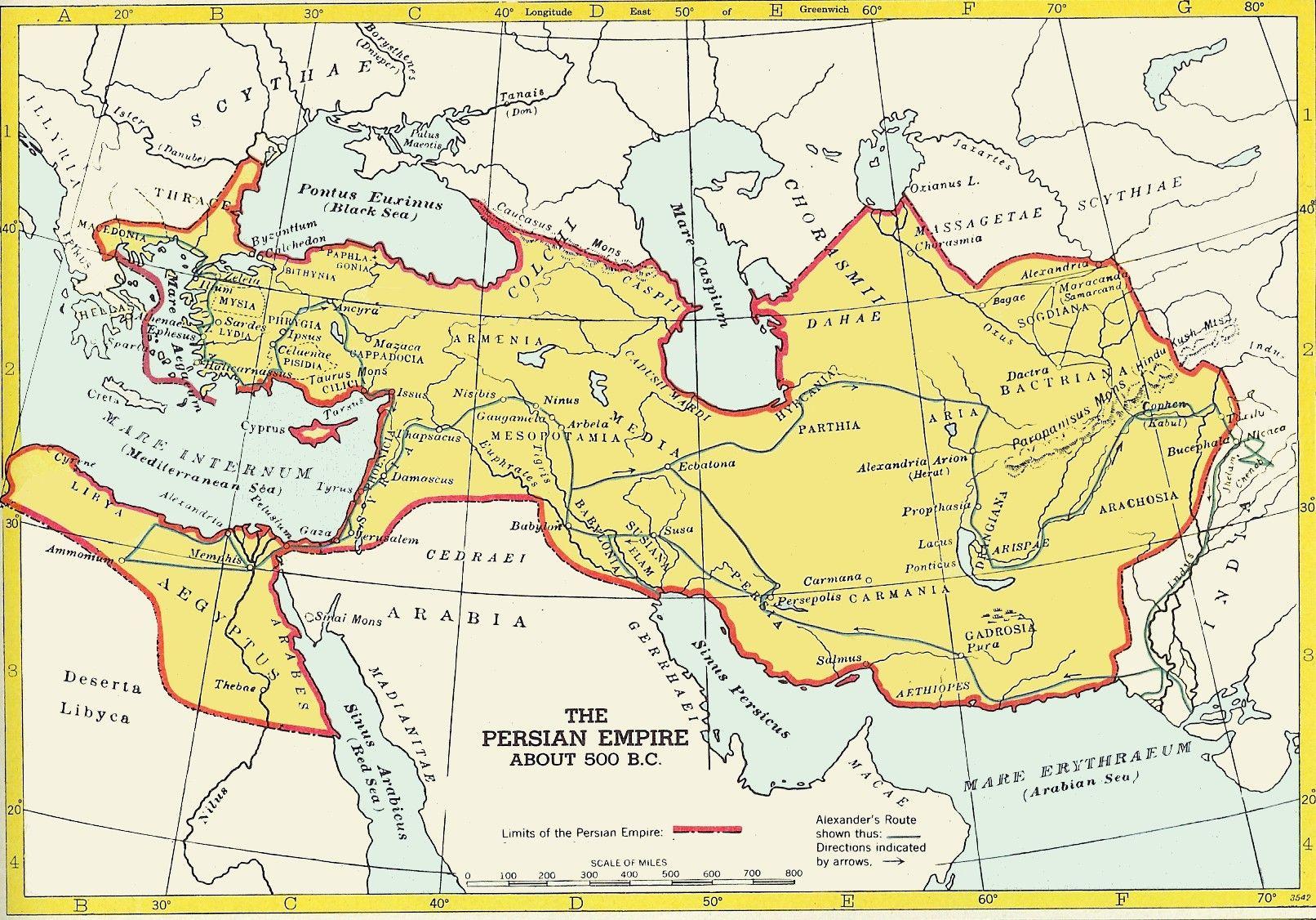 The Persian Empire c. 500 B.C.   The Achaemenid Persian Empire Map ...