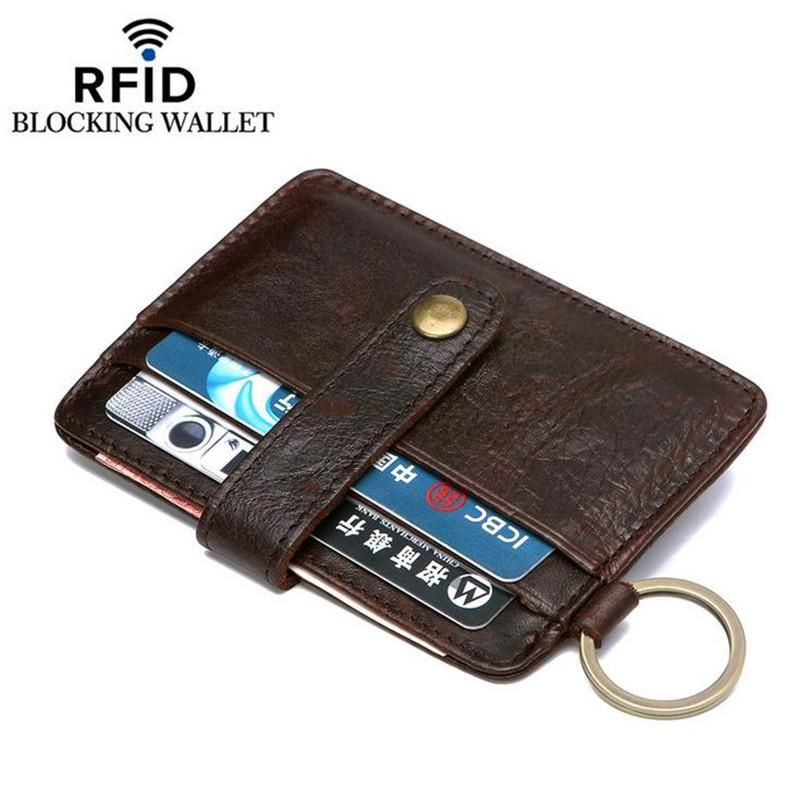 Crazy horse men card id holders genuine leather credit