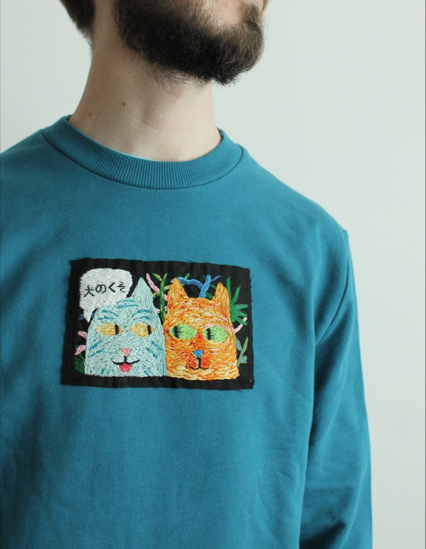 Mens Sweatshirt Embroidered Sweatshirt Embroidered Etsy In 2021 Embroidered Sweatshirts Aesthetic Shirts Embroidered Clothes [ 1080 x 837 Pixel ]