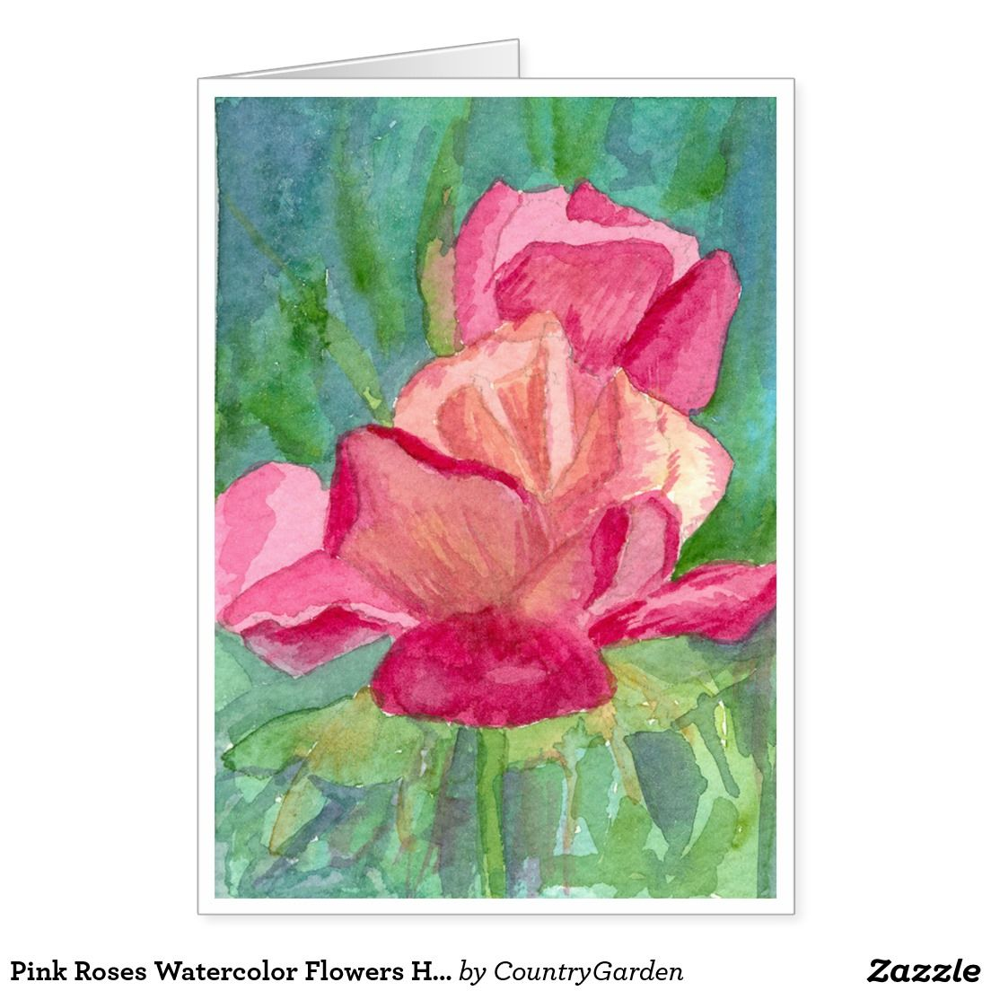 Pink roses watercolor flowers happy birthday card happy birthday cards pink roses watercolor flowers happy birthday card izmirmasajfo