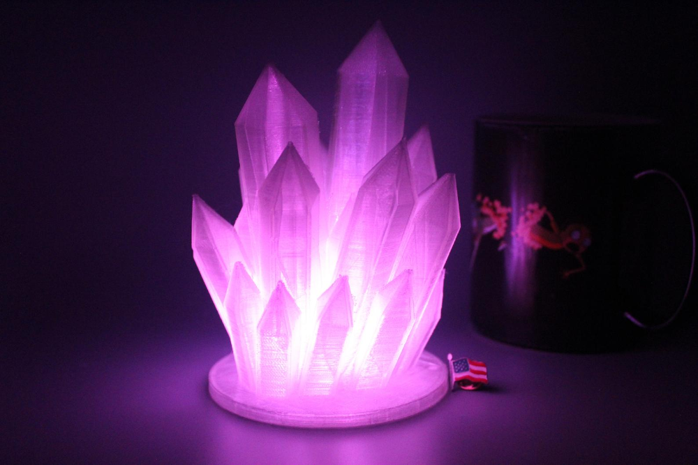 Color Changing Led 3d Printed Crystal Lamp Comes With Etsy In 2020 Color Changing Led Led Color Changing Lights Color Changing Lamp