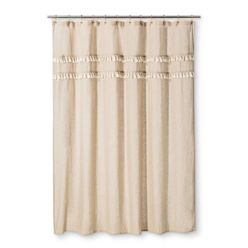 Shower Curtain Shapes Solid Brown Linen Threshold