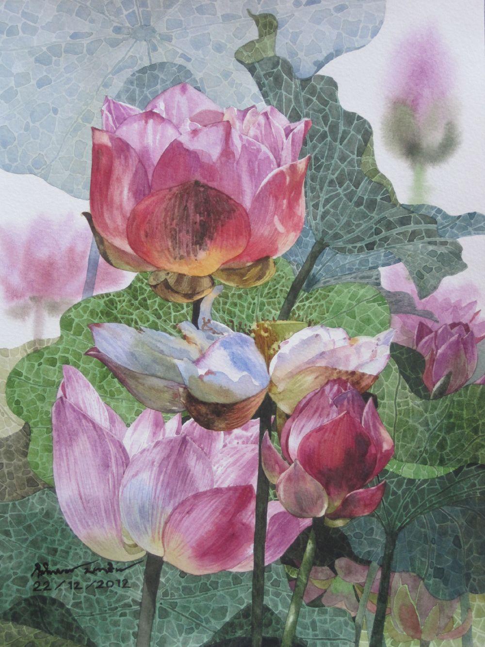 Lotus flowers painting paintings by ti watercolor pinterest lotus flowers painting lotus flower paintings lily pond lotus flowers watercolor prints izmirmasajfo