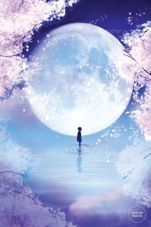Photo of Anime Art Print Poster: Moon Child, Fantasy Art Print, Moon Poster, Fantasy Poster, Spring Poster