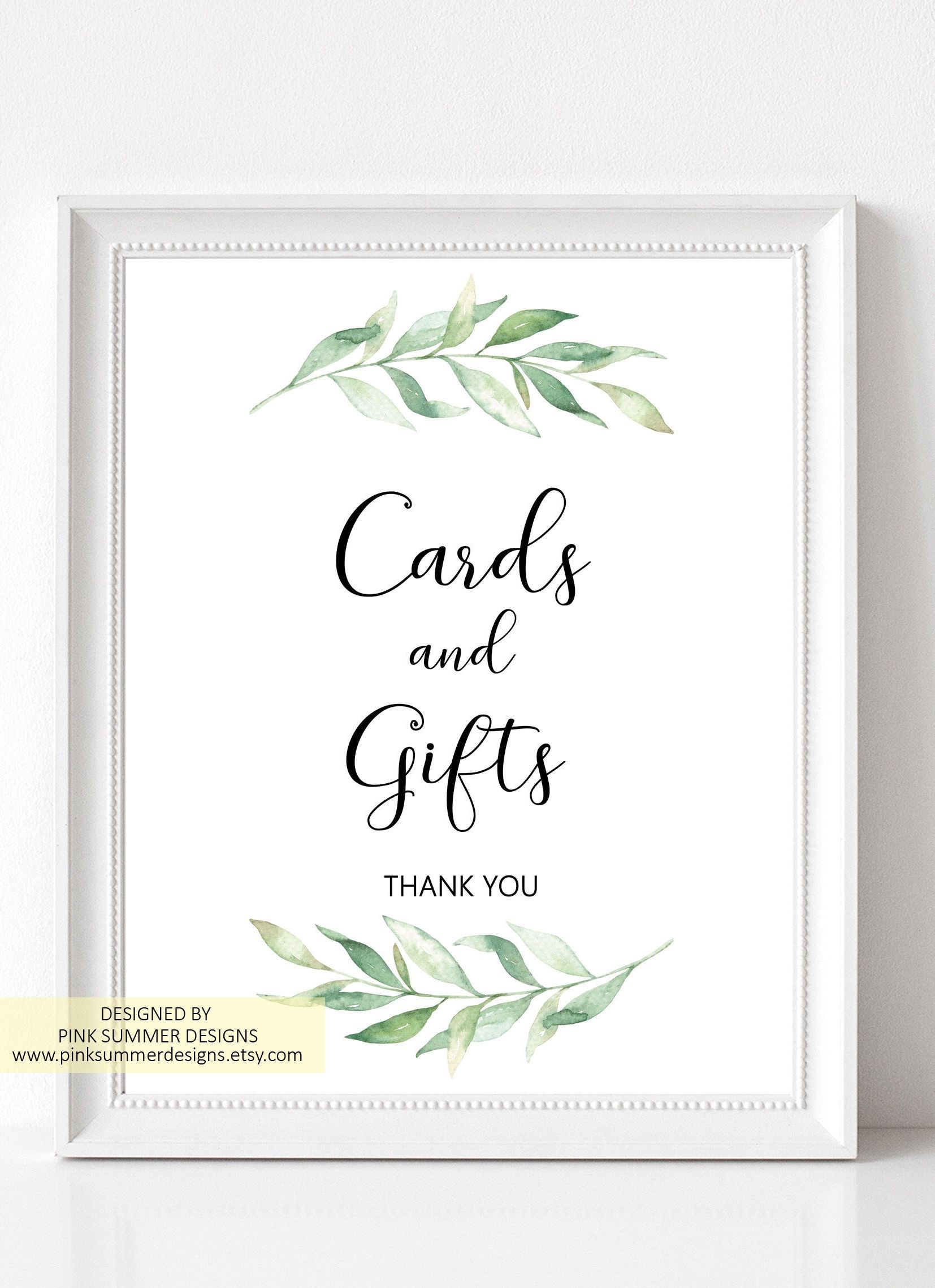 Garden Wedding Cards And Gifts Sign Printable Greenery Gift Etsy Wedding Cards Gift Table Signs Wedding Signs