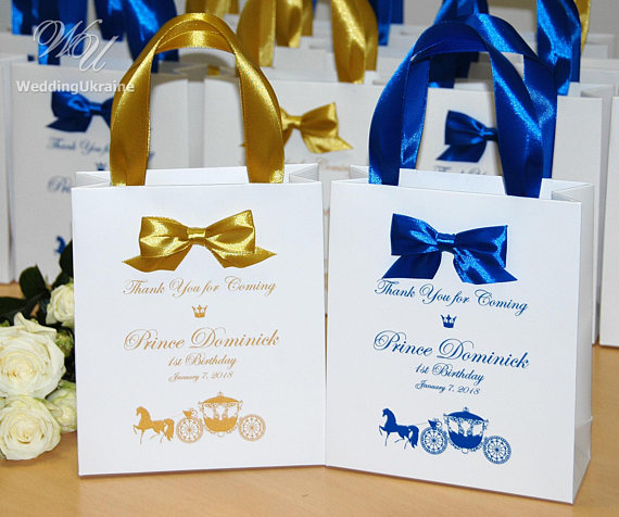 1st Birthday Bags For Guests Thank Your Coming Little Prince 30 Elegant Bow Welcome Perso