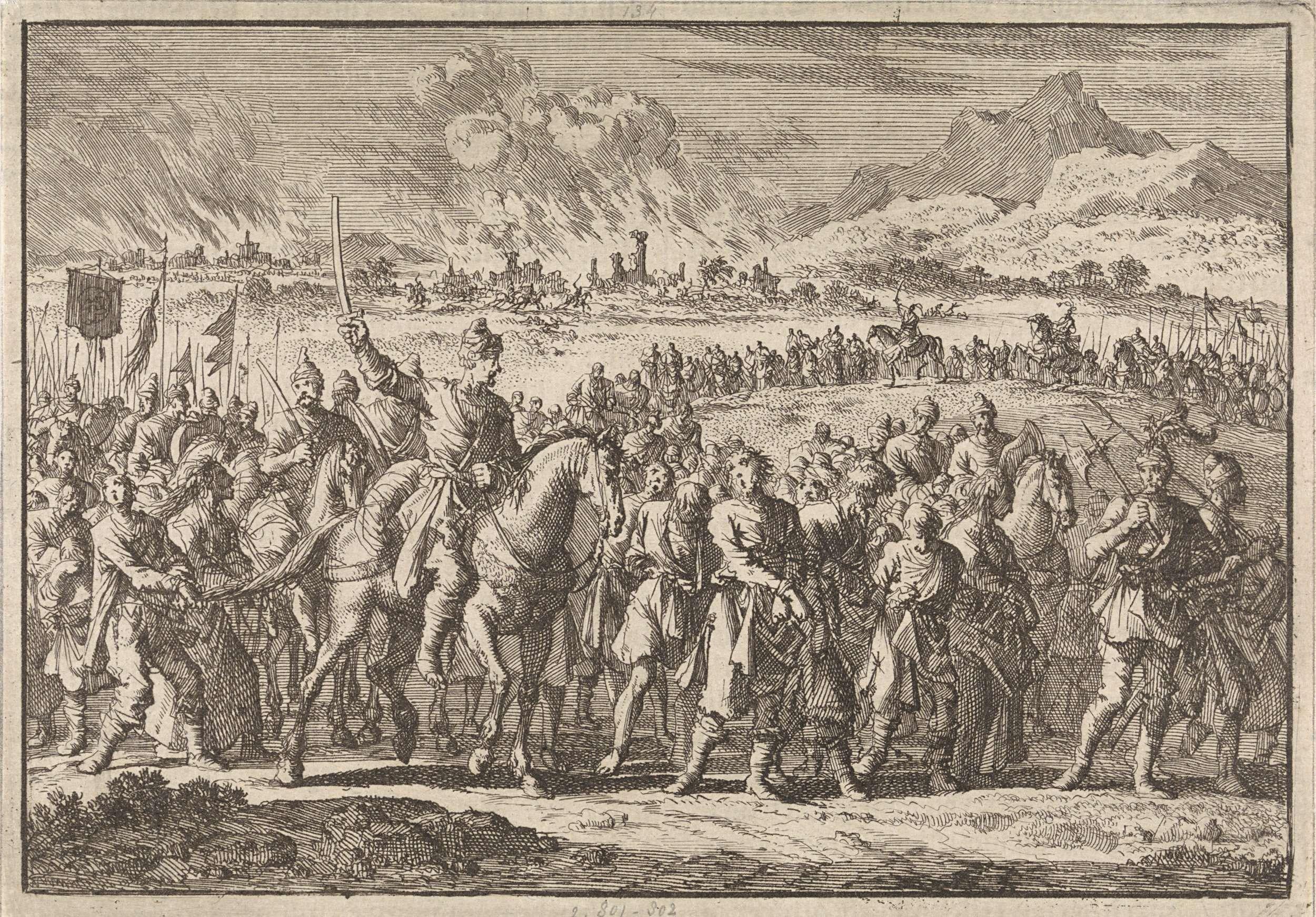 Inval van de Tartaren in Polen, 1666, Jan Luyken, 1698