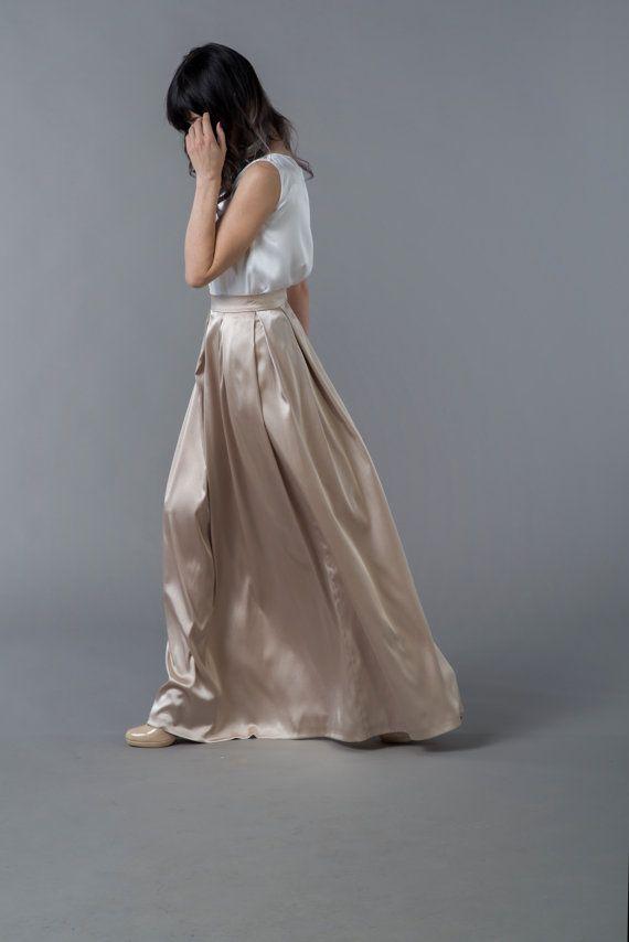 a7762a02f413d9 Oria - satin skirt / gold skirt / maxi skirt / floor length skirt ...