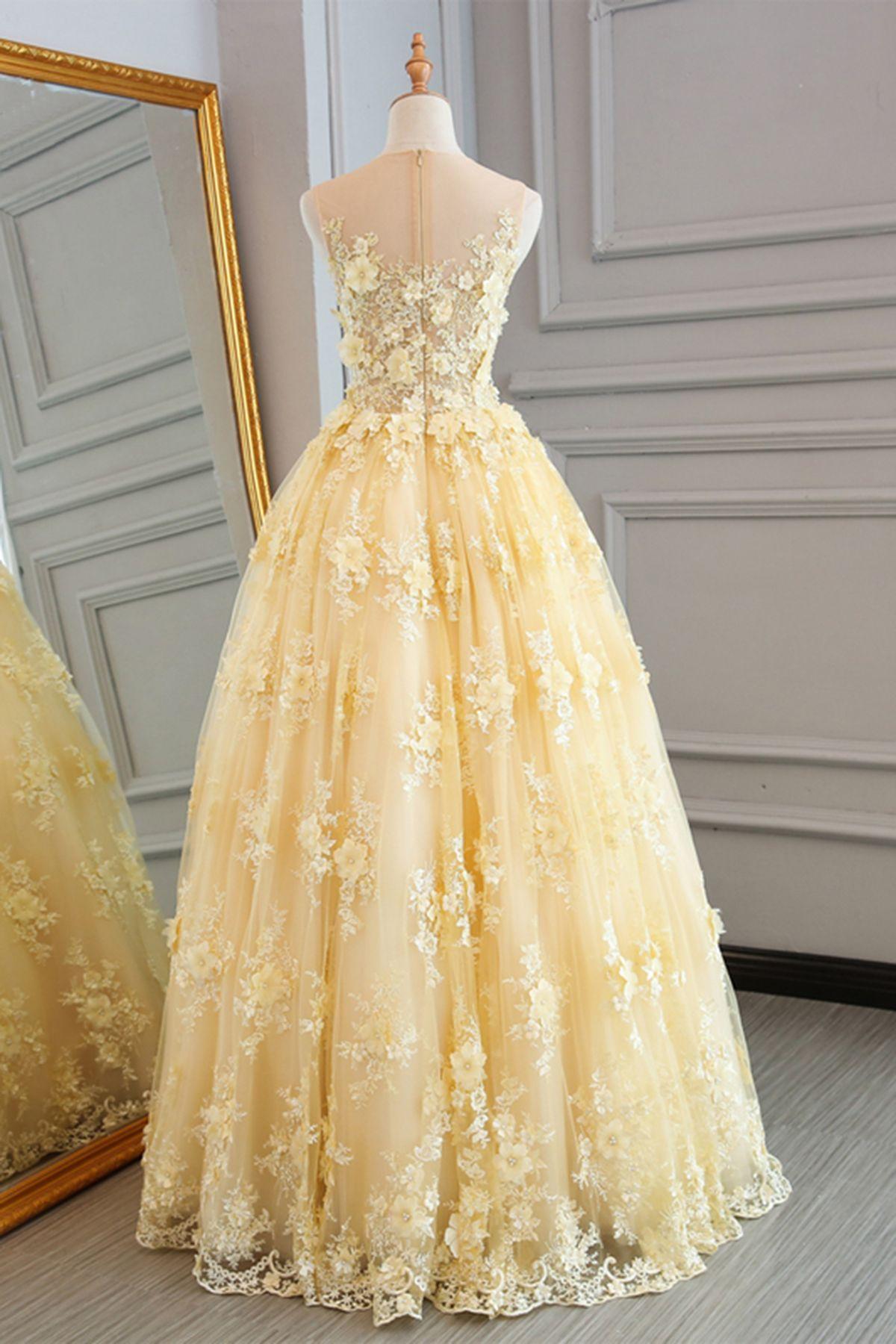 Spring yellow lace customize long aline senior prom dress long