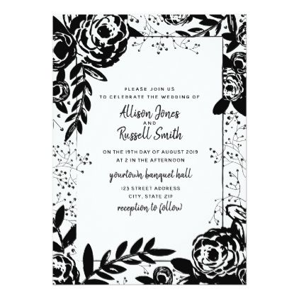 Black White Flower Butterfly Personalized Wedding Save The Date Cards