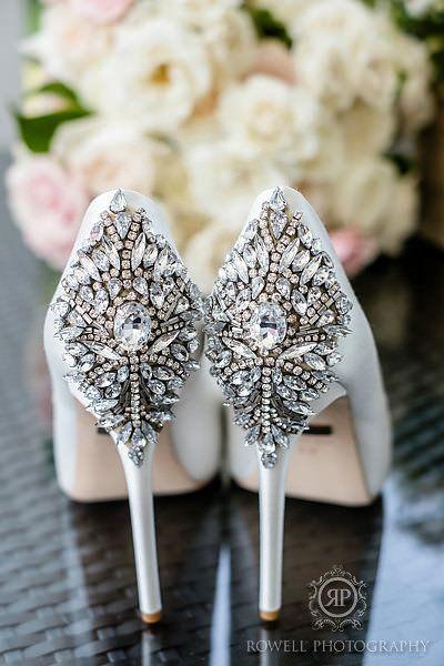 Stunning embellished wedding heels | Rowell Photography