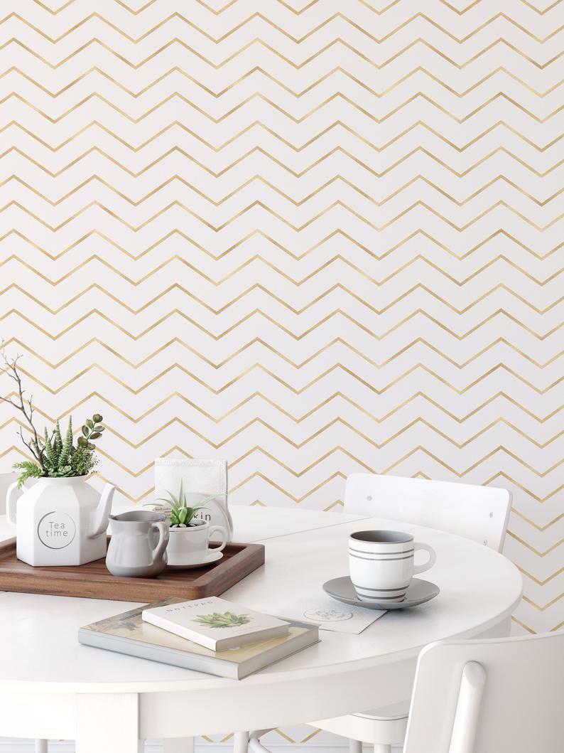 Minimal Gold Wallpaper Gold Bar Wallpaper Peel And Stick Etsy Gold Wallpaper Minimal Furniture Accent Wall