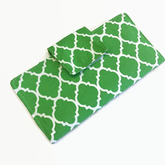 Checkbook Cover Checkbook case Green checkbook holder check