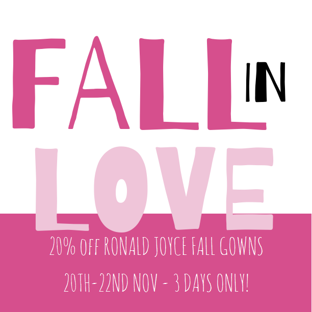 DESIGNER WEEKEND - RONALD JOYCE 20% OFF Thursday 20th - Saturday 22nd November Call 01698 200122 to BOOK your slot.