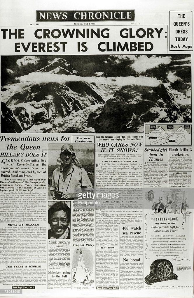 Publishing Historic Newspaper Headlines 2nd June 1953 The Front Page Of The News Chronicle