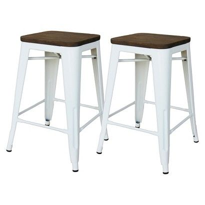 Fabulous Set Of 2 24 Hampden Industrial Counter Stool White Creativecarmelina Interior Chair Design Creativecarmelinacom