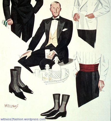 Black tie worn with a vest or with a cummerbund, Esquire, August 1934.