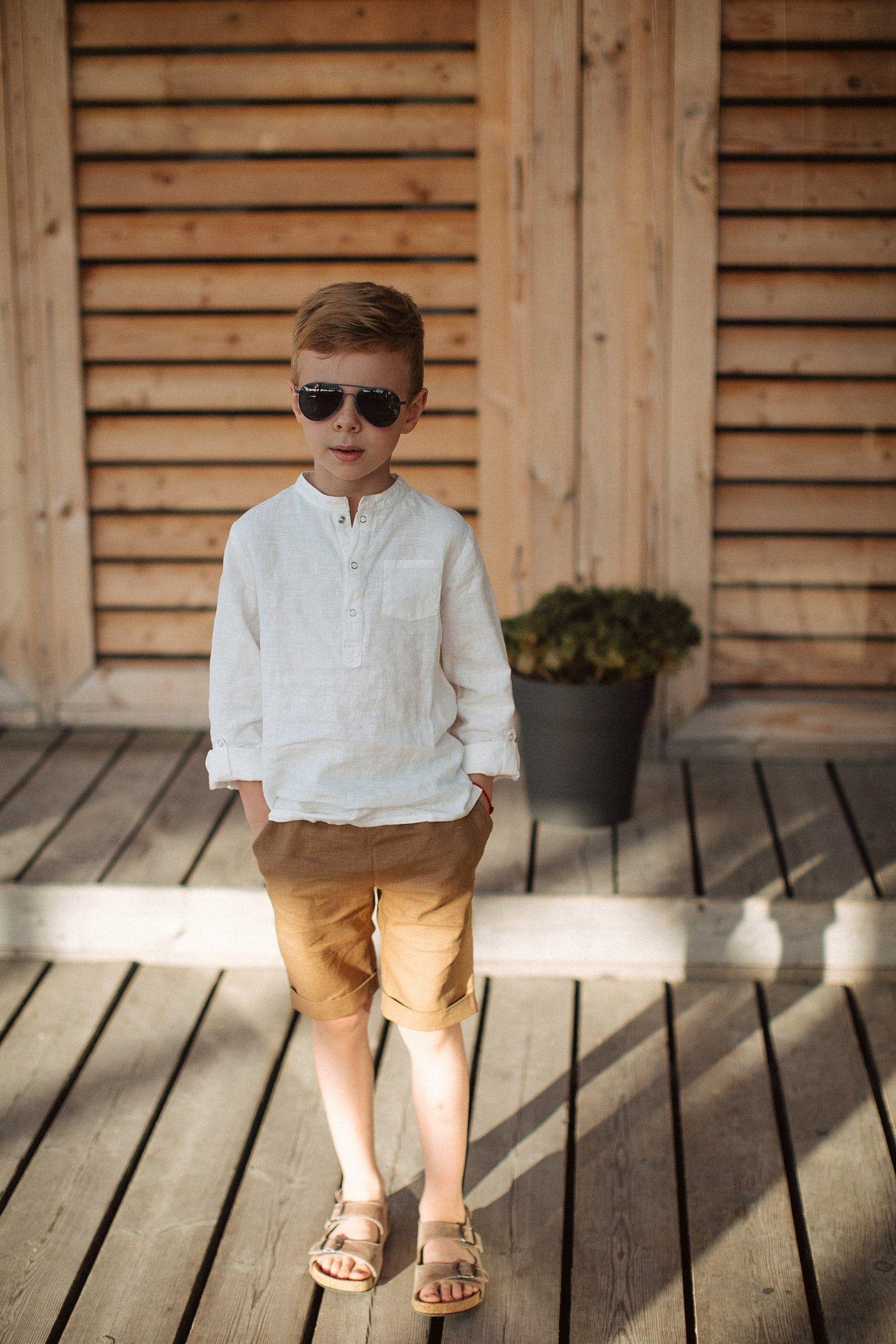 Boys Linen Shorts Camel / Kids Cuffed Shorts / Cam
