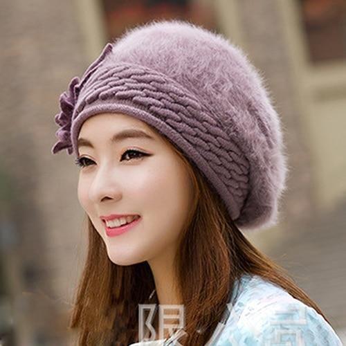 Beanies Women s Winter Hats For Women Knitted Girls Bonnet Caps Winter Lady  Hats Brand Wool Fur 6f2dd95dadbd