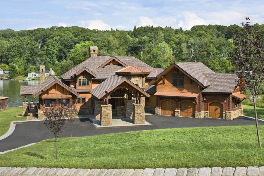 timber home designs. A combination of timber framing  siding and stone this hybrid New Jersey home is a lakefront beauty Dream Home Pinterest Stone House Cabin