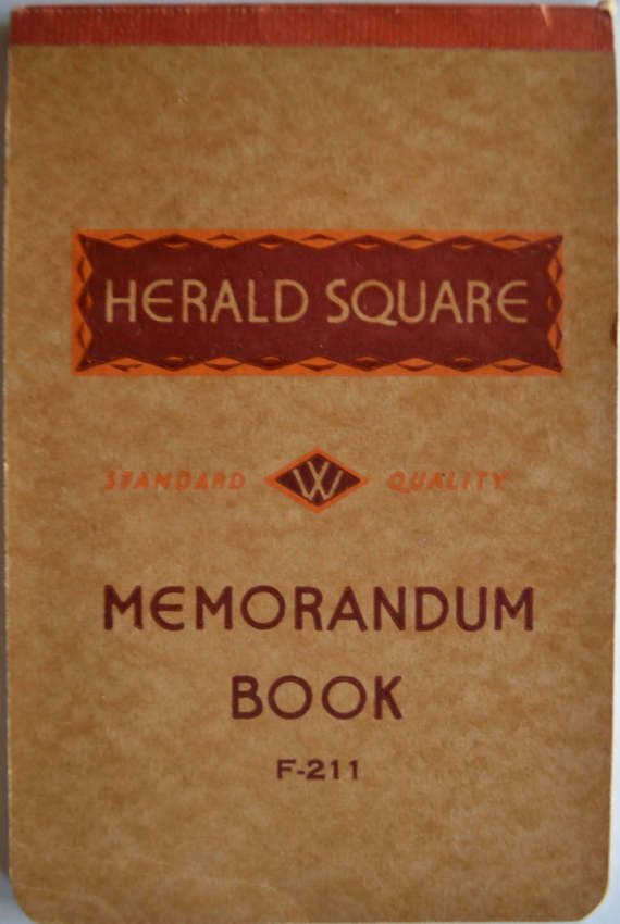 Vintage Memorandum Notebook By Vintagesupplyshop On Etsy
