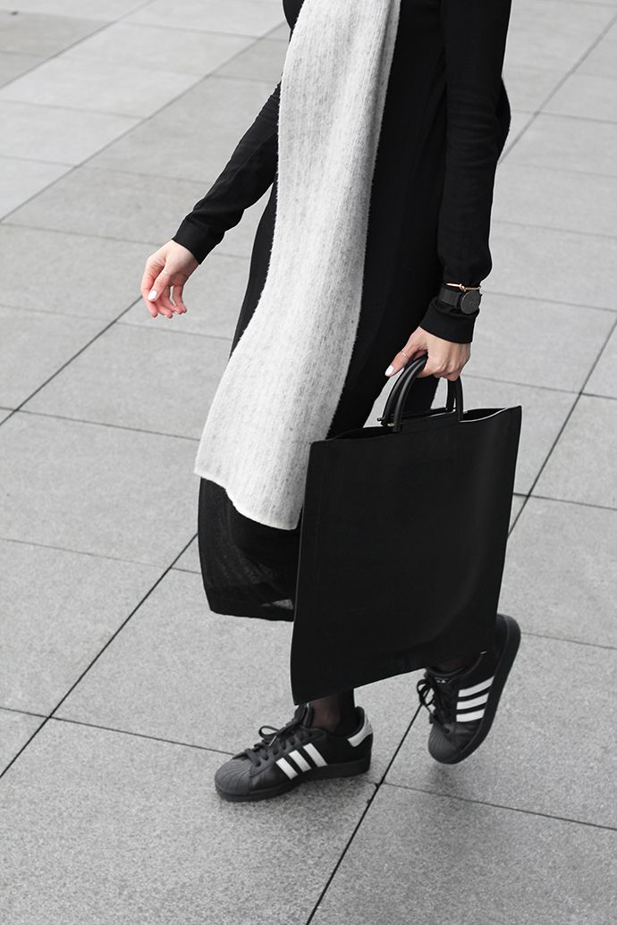 black & white look with midi pleats & adidas sneakers #style