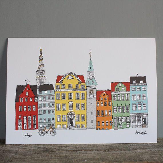 Copenhagen Cityscape Print A4 Copenhagen Skyline Print Wedding