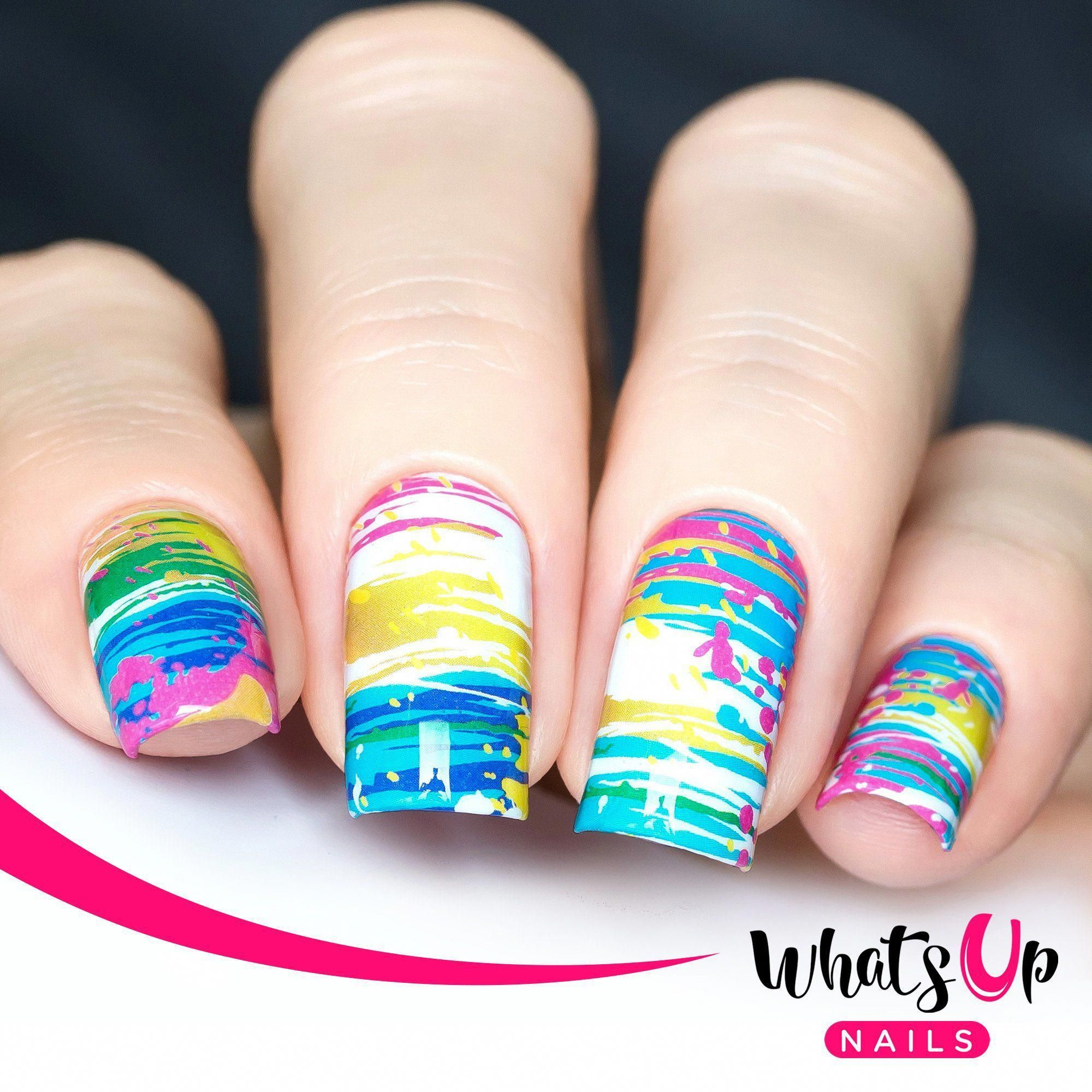 P091 Abstract Mind Water Decals In 2020 White Nails White Nail