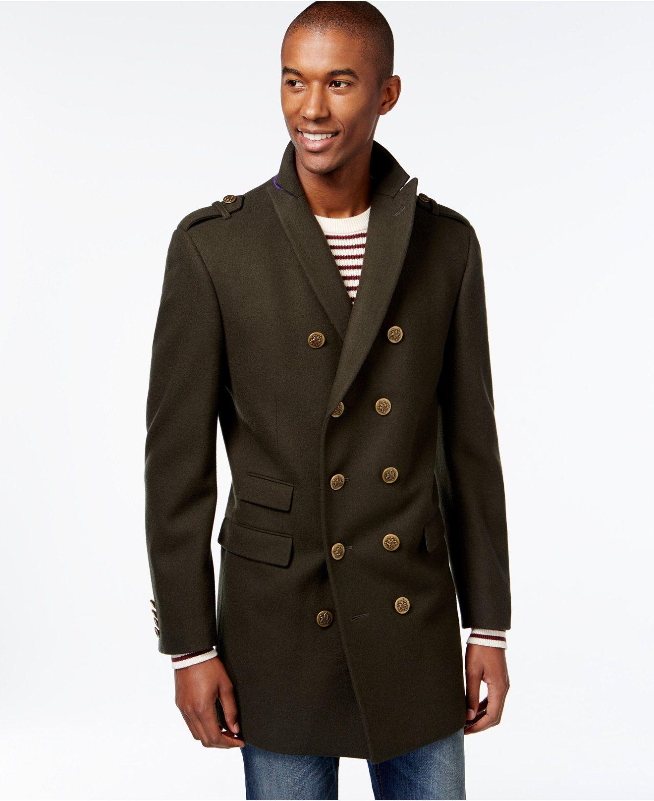 Tallia Double-Breasted Military-Style Peacoat - Coats & Jackets ...