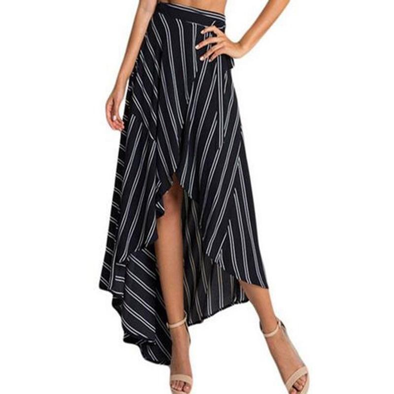 Womens Floral Midi Skirt Wrap Asymmetric Ruffles High Waist Dip Hem Summer Dress