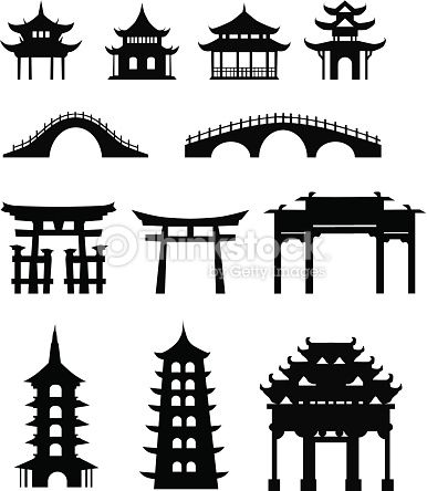 Vector Art Chinese Traditional Buildings