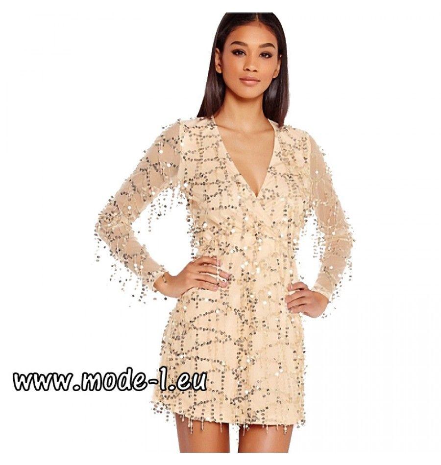 Pailletten Kleid Party Kleid in Gold mit V Ausschnitt | Damenmode ...