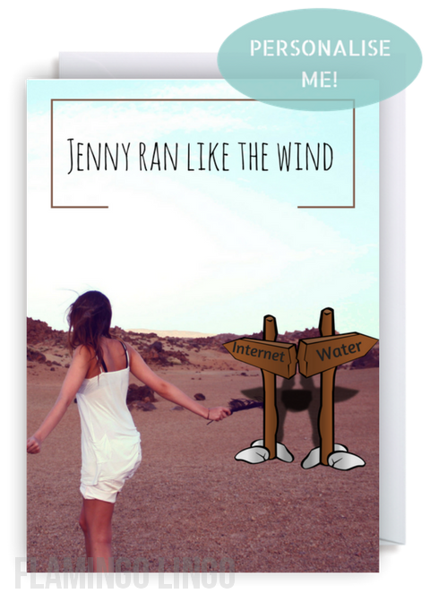 Funny Personalised Birthday Card. Ran Like The Wind