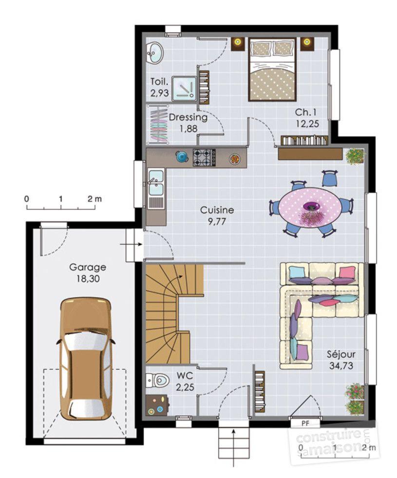Plan Maison 2 Chambres 70m2 : maison, chambres, Maison, Chambres, Salon, Cuisine, Recherche, Google, Maison,, Etage,, Etage