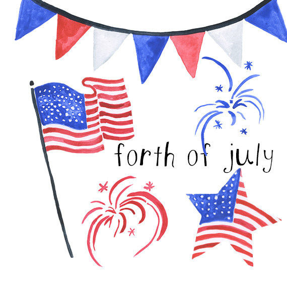 4th of july watercolor. Forth americana clip art