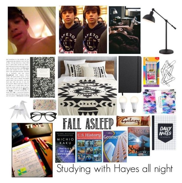 """""""Studying w/ Hayes all night"""" by lindseypage ❤ liked on Polyvore featuring CB2, Casetify, Shinola, BIC, Home Decorators Collection, Hermès, J.Crew, Belkin and Nikki Strange"""