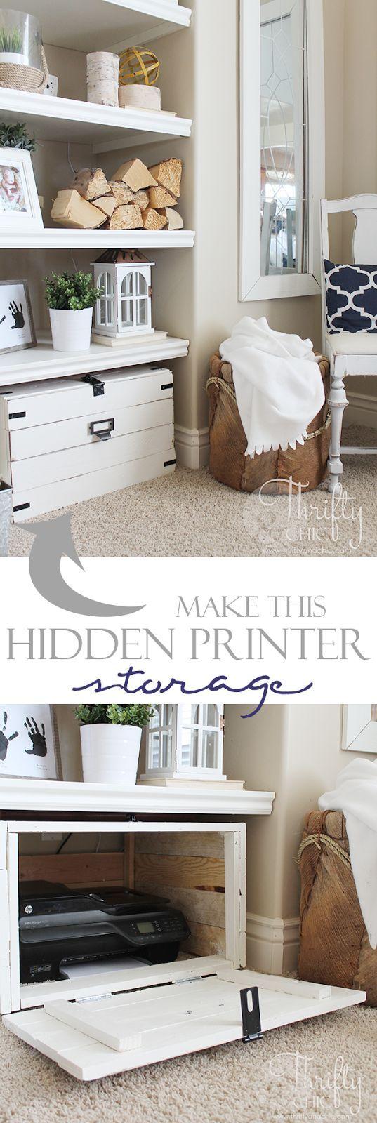 DIY Hidden Printer Storage Cabinet | Büros, Büro ideen und Glühbirnen