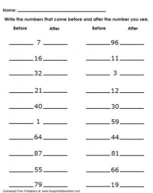 number before and after worksheets for kindergarten