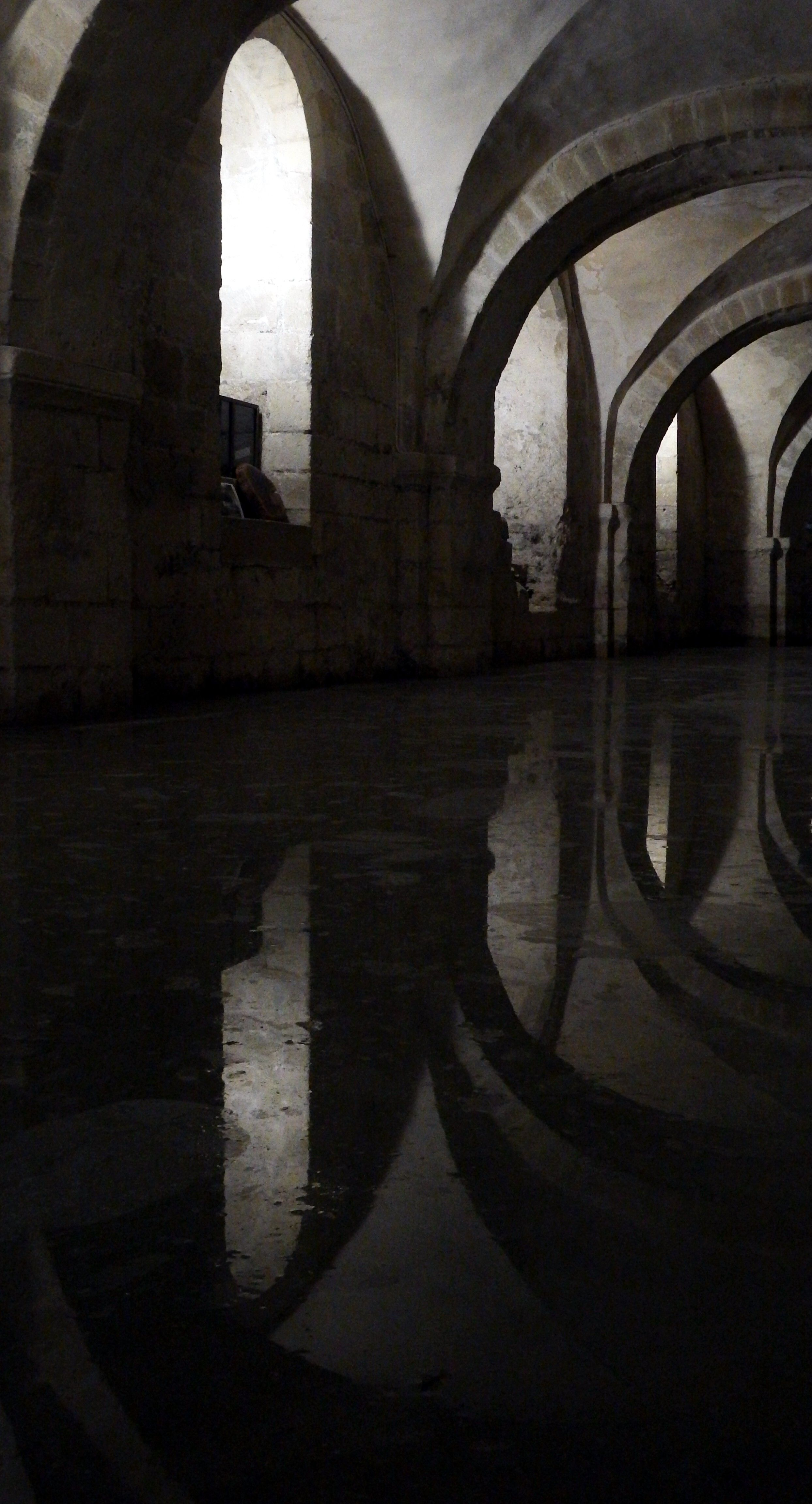 The flooded crypt at Winchester Cathedral.