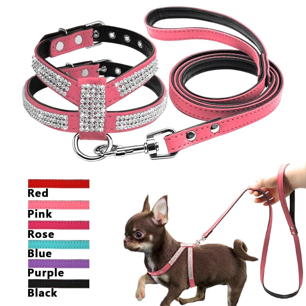 Jeweled Automatic Retractable Dog S Leash Matching Harness 6