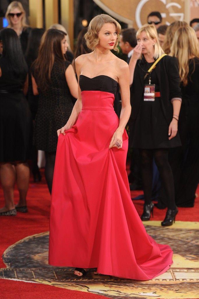 Taylor Swift in Carolina Herrera [Photo by Tyler Boye] Same Herrera dress on Golden Globes red carpet