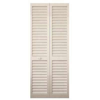 Kimberly Bay 24 In Plantation Louvered Solid Core Painted White Wood Interior Bi Fold Closet Door Dpbpllw24 At The Home Depot