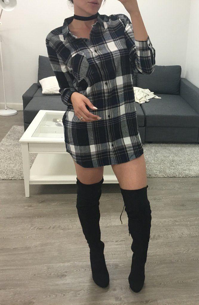 5b3c1fba3 Flannel Dress + Thigh High Boots + Choker