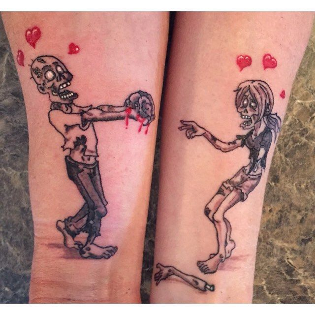 Mmmmm Brains #brains #couplestattoo #zombies #tattooaddict #coupleswithtattoos #couplesinlove #zombielove