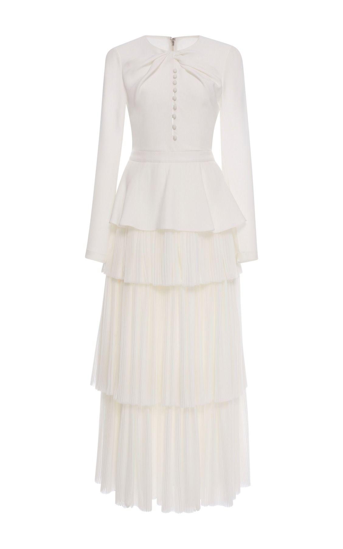 Long Sleeve Tiered Pleat Dress By Prabal Gurung Long Sleeve Silk Dress White Long Sleeve Dress Long Silk Skirt [ 1805 x 1128 Pixel ]