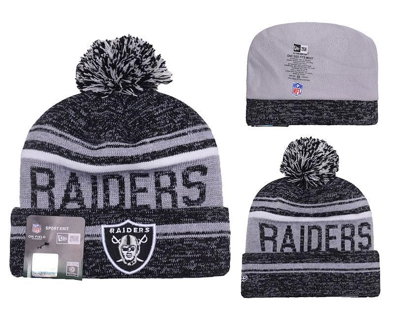 b22f4492 Men's / Women's Oakland Raiders New Era 2016 NFL Snow Dayz Knit Pom ...