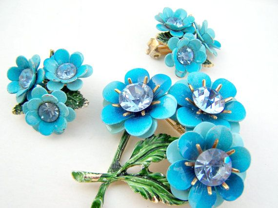 vintage enamel flower jewelry   Vintage Jewelry ,Blue Enamel Flowers Crystal Brooch with Matching ...